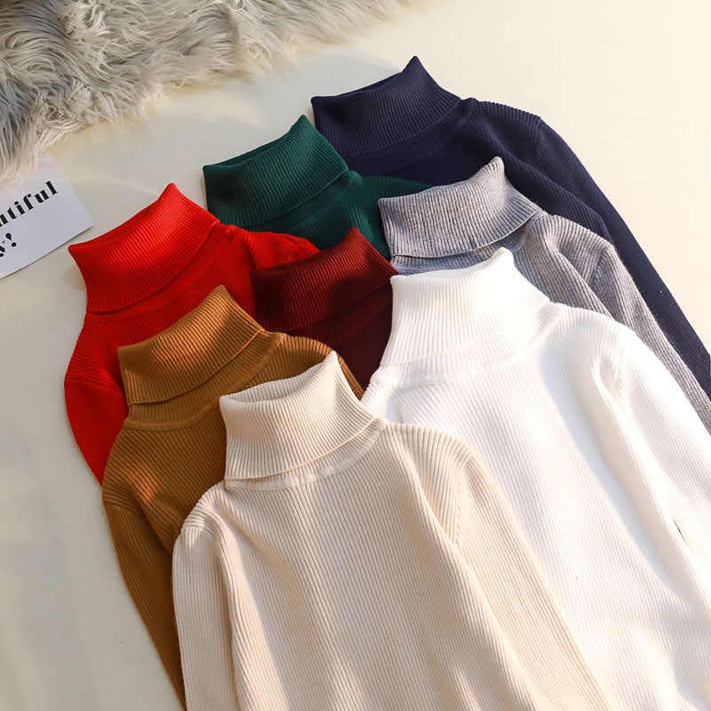 2019 カジュアル秋冬基本セータープルオーバー女性タートルネック固体ニットスリムプルオーバー女性長袖暖かいセーター