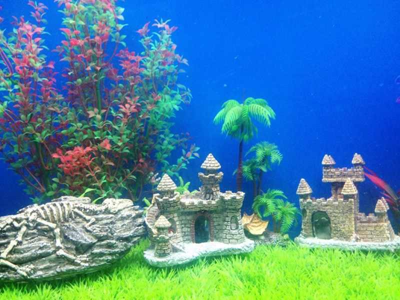 Nouvelle résine dessin animé château Aquariums décorations château tour ornements Aquarium accessoires décoration