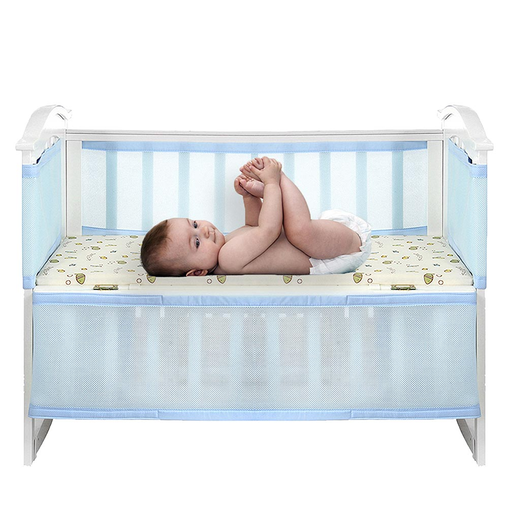 2Pc Breathable Crib Enclosures Baby Collision-proof Bed Enclosure Newborn Breathable Crib Bumper Protection Supplies