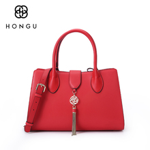 Hongu Genuine Leather luxury handbags women bags designer Metal Tassels Tote bags handbags Women Famous Brand Lady Shoulder Bags