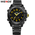 WEIDE Brand Men Digital Quartz Watch Yellow Color Back Light Analog LED Display Fashion Style Men's Waterproof Military Watches
