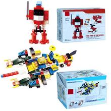 16pcs Robot 1 Into 3 Spell Inserting Blocks 16 Into 1 Children's Puzzle Early Education Small Particles Plastic Assembled Toys