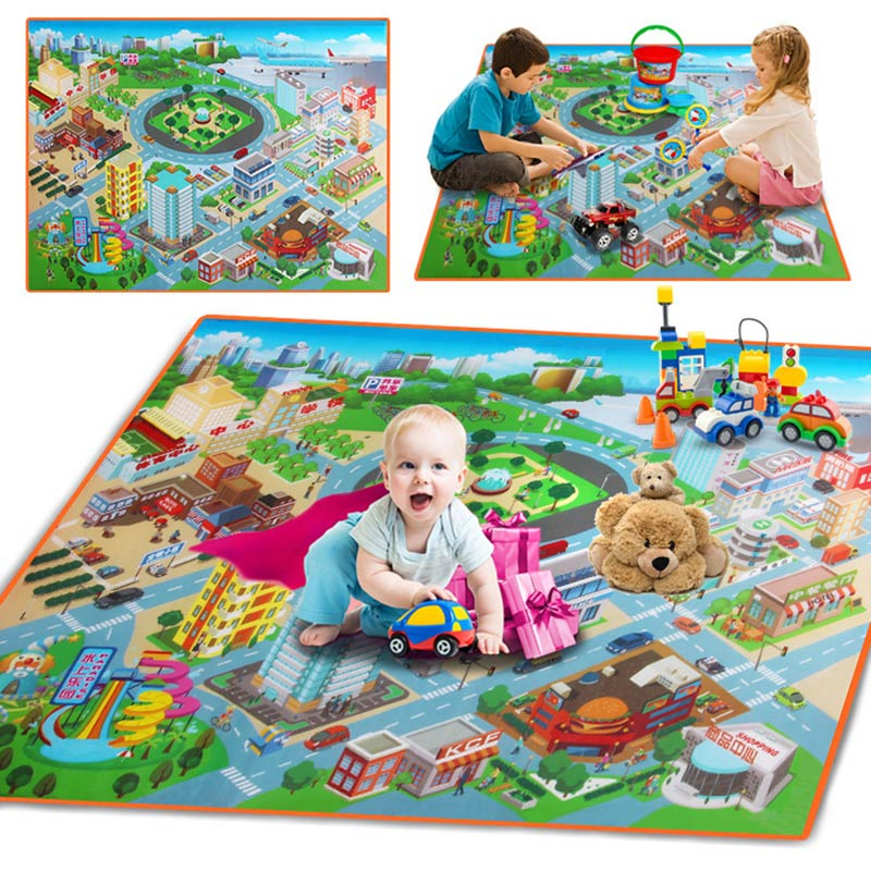 2018 New Children Kids Baby Crawling Blanket Carpet Rug City Life Learn To Walk Road Traffic Play Mat Home @ 88