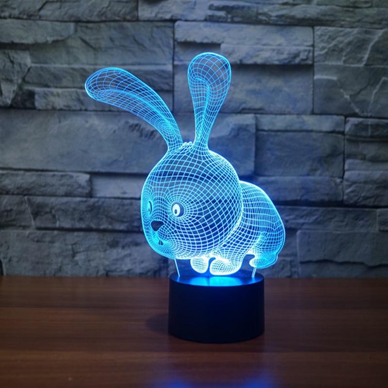 Söt kanin USB Led nattlampa 3D-lampa för gåvor för babyrum