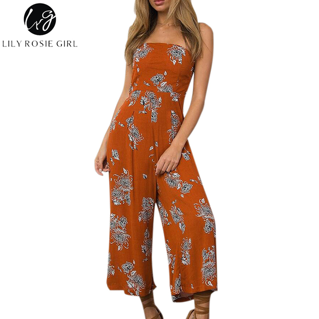 dc5f273b229 Lily Rosie Girl Off Shoulder Boho Floral Print Sexy Women Jumpsuits Summer  Beach Long Rompers Party Playsuit Backless Overalls