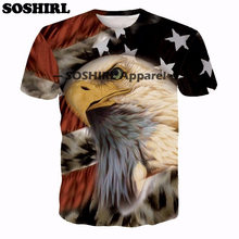 SOSHIRL Eagle 3D Print T Shirt Summer Tops American Flag Tee Sexy Unisex Men's T Shirt Brand Clothing Plus Size Dropship