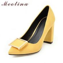 Meotina/обувь на высоком каблуке выходные женские туфли-лодочки Обувь модные На высоких толстых каблуках острый носок из флока Дамская обувь серый плюс размер 10 40 43