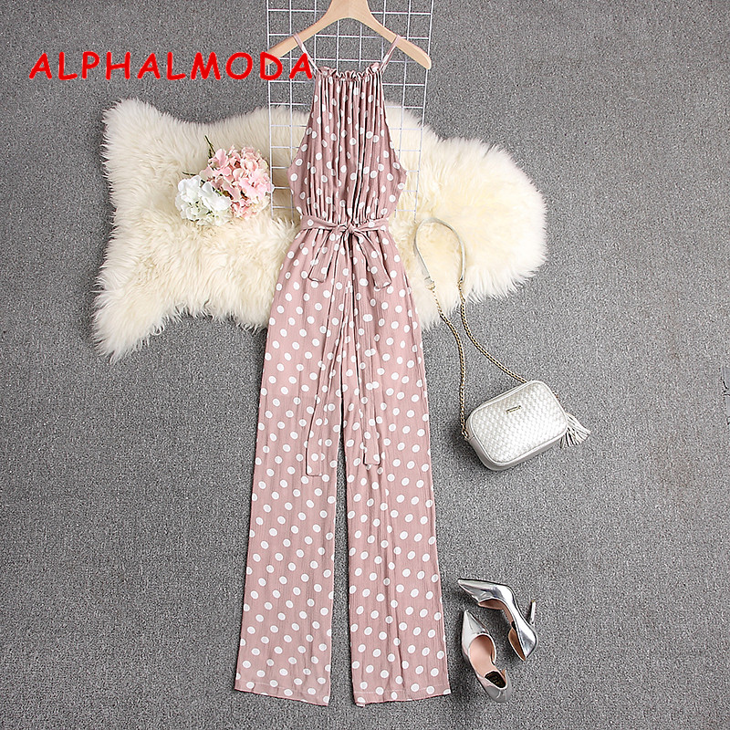 ALPHALMODA 2019 Summer Polka Dot Sleeveless Jumpsuits Women Casual Loose Maxi Rompers Comfortable Salopette Femme