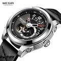 MEGIR Модные мужские механические часы с кожаным ремешком, черные аналоговые механические наручные часы с скелетом для мужчин, водонепроница...