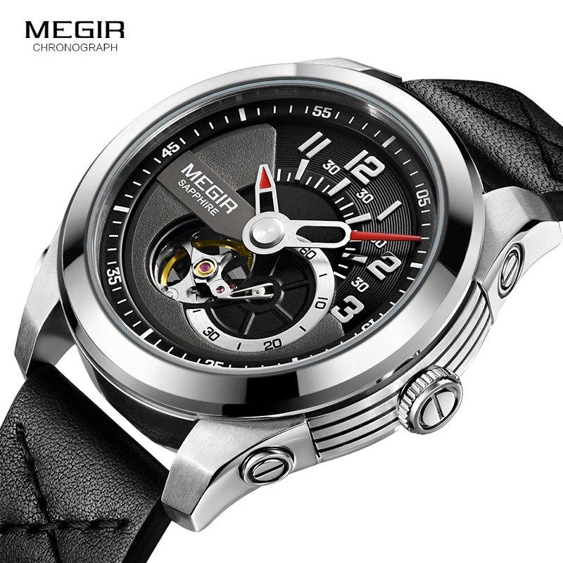 цена MEGIR Fashion Men's Leather Strap Mechanical Watches Black Analogue Skeleton Mechanical Wristwatch for Man Waterproof 62050GBK-1 онлайн в 2017 году