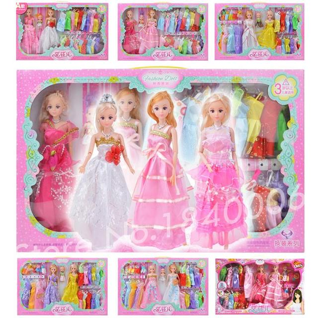 26 Item/Set = 2 Vestido de Princesa Boneca + 1 boneca + 23 tecido macio Roupas Da Moda caixa De Presente Da Princesa mini BJD Brinquedos Para Boneca Barbie