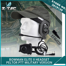 Z-Tactical Airsoft Bowman Elite II Headset with Kenwood Wearable Earphone Hunting Pin Peltor PTT Push To Talk for Military Radio