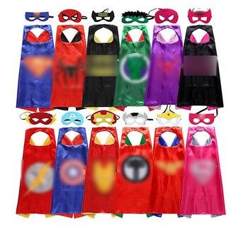 Superhero cape(1 Cape +1 mask) Superman batman spiderman superhero costume kids Halloween party costumes for Christmas rose