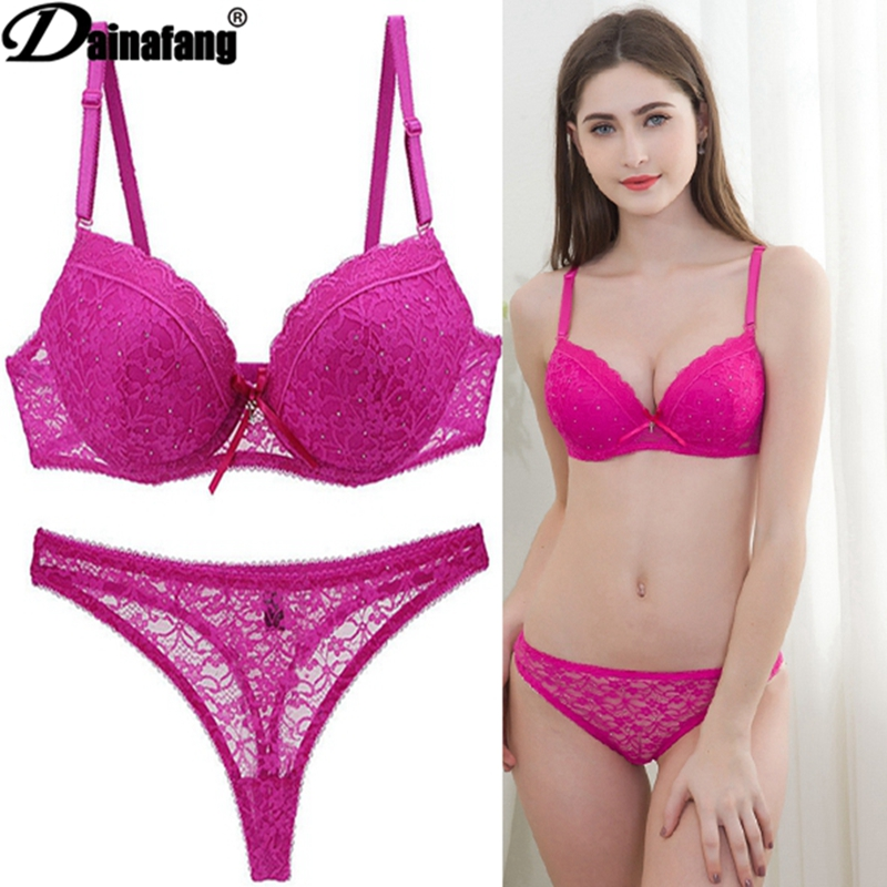 Novelty 2020 Lace Drill Bra Set Women Plus Size Push Up Underwear Set Bra And For Female Sexy Thong Set 34 36 38 40 42 BCDE CUPS