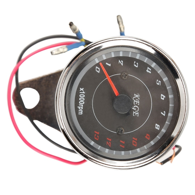 High quality Motorcycle Styling Cool LED light Universal Odometer Speedometer Meter 13000 RPM Scooter Analog Tachometer Gauge