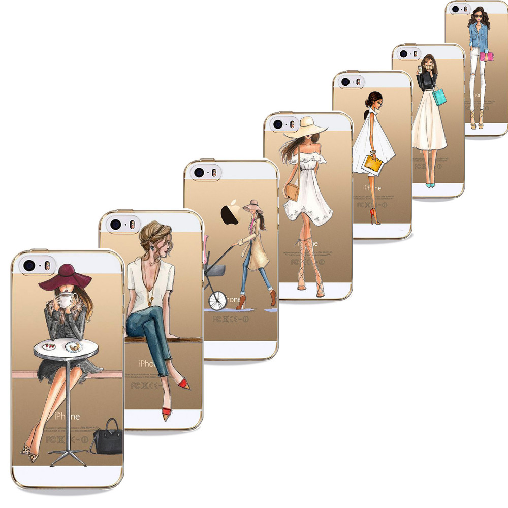 Beautiful Dress Shopping Girl Phone Case For iPhone 5 5S SE Transparent Soft Silicon Fashional Girl Cover Mobile Phone Bag