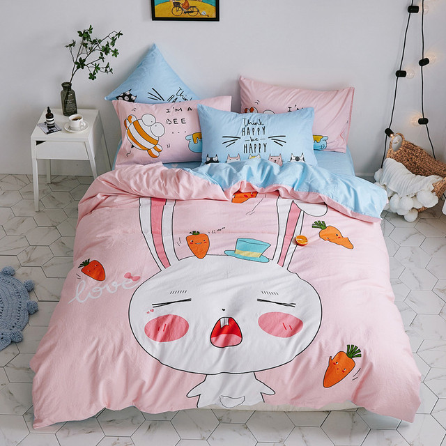 Pink Bed Cover Kids Bedding Set S Rabbit Sheet Bunny Printed Queen Size