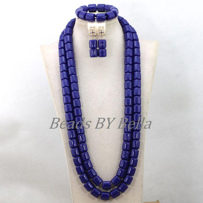 2 couches bleu artificiel corail bijoux de mariée ensembles longues perles de mariage collier perles africaines ensemble de bijoux livraison gratuite ABK262 - 5