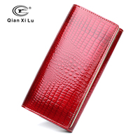 2018 Luxury Brand Women Patent Leather Wallets High Quality Long Clutch Purses Bag Hasp Fold Over