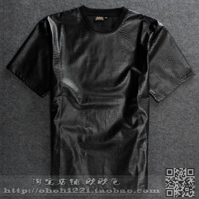 5b51b3e09be Mens Size Zipper Summer Boa Snake crocodile skin Faux Leather t shirt Men  Black leather Sleeve Shirts Size S-XXL Free Shipping