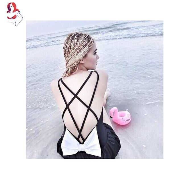 d252d9c0a8678 UCHIHA LQ Bikini 2017 New Design High Quality Halter Bow Japanese Style One  piece Swimsuit Girls Swimsuit Skirt Black