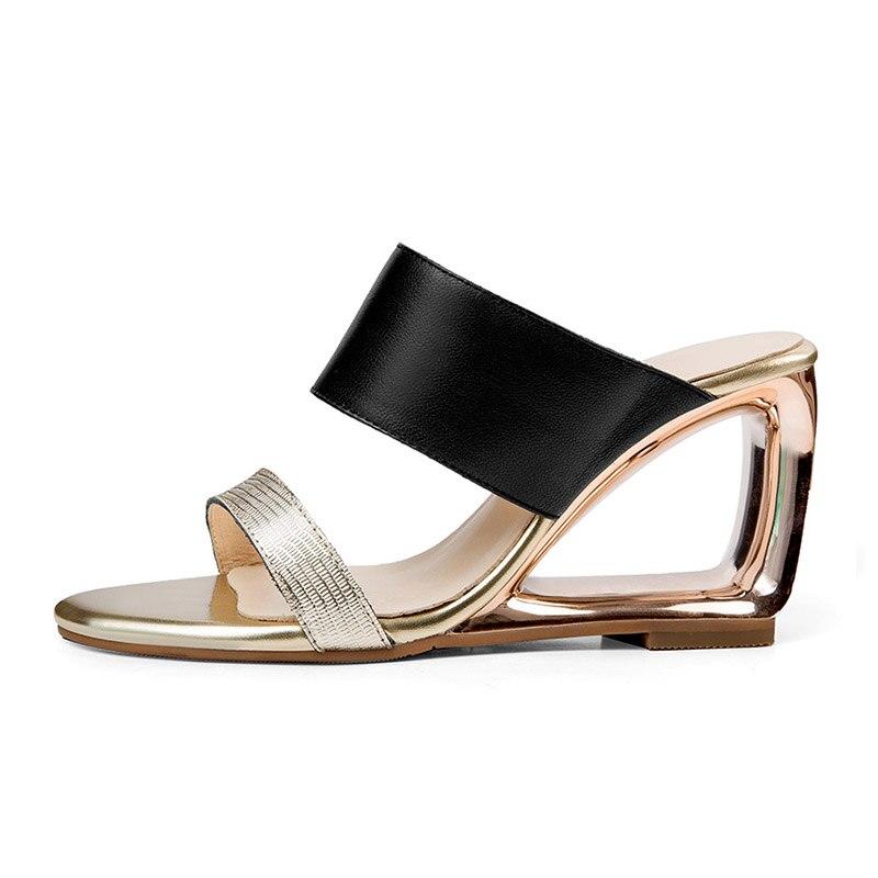 WETKISS Genuine Leather High Heels Unusual Ladies Slippers Strange Style Slides Footwear 2019 New Summer Women Mules Shoes Gold