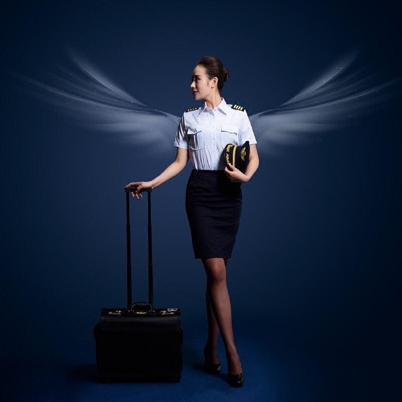 Capitaine uniforme femme chemise jupe ensemble costume agent de bord uniforme femme aviation civile pilote à manches courtes cosplay performanc