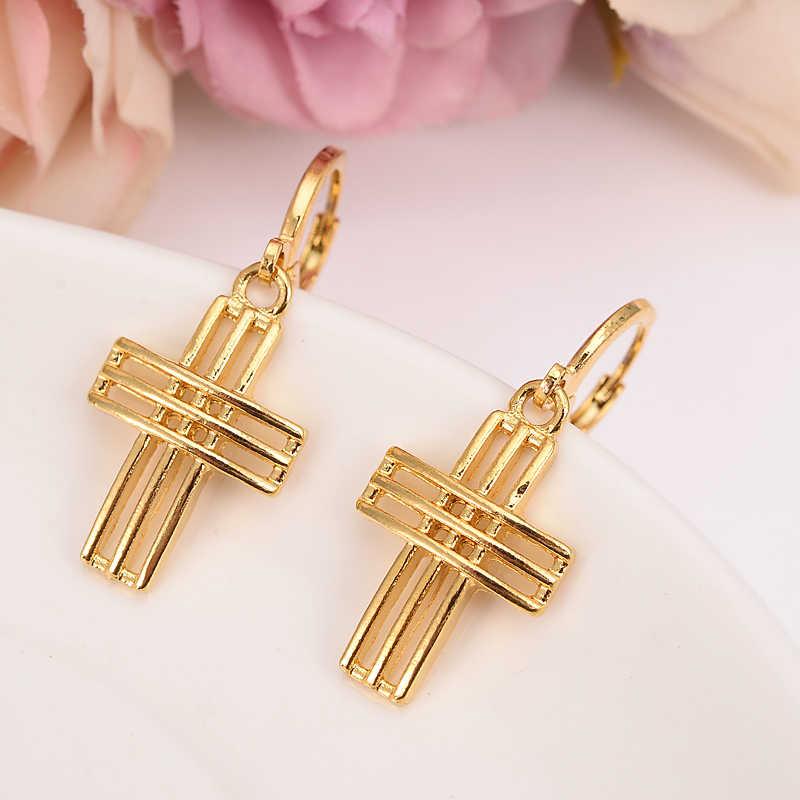 Gold kreuz tropfen ohrring Äthiopischen/Nigeria/Kenia/Ghana Gold farbe Dubai afrikanische Arabischen Nahen Östlichen Schmuck Mom geschenke
