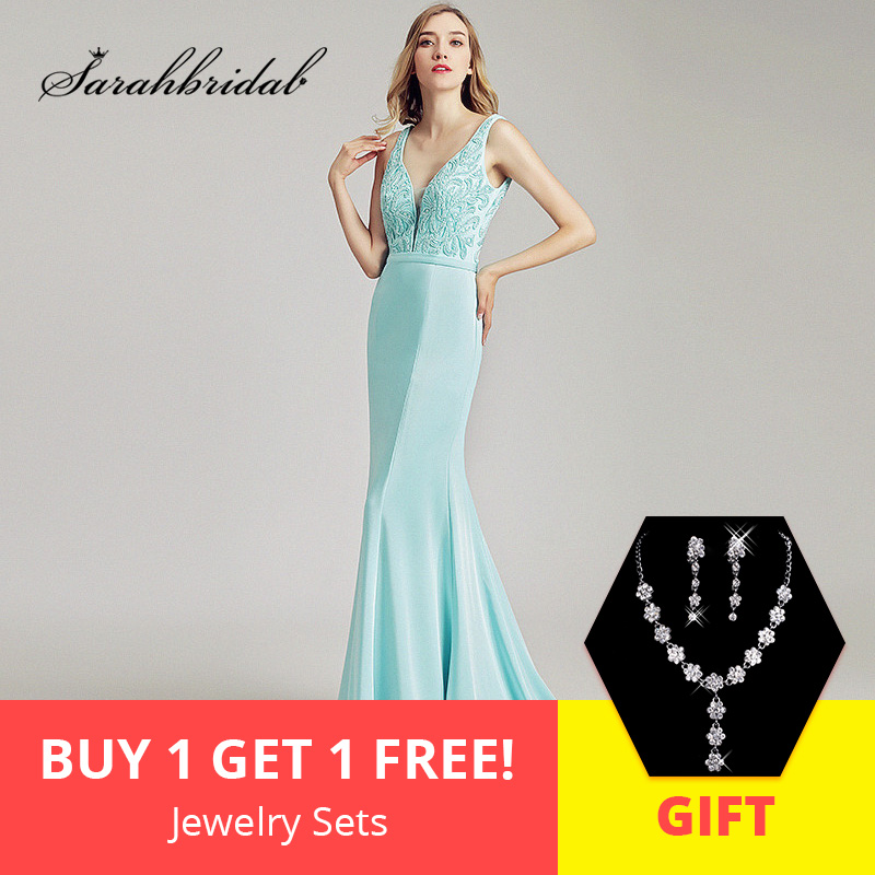 172f16be53e 2018 Sexy V-Neck Long Prom Dresses with Beading Top Satin V Back Formal  Women