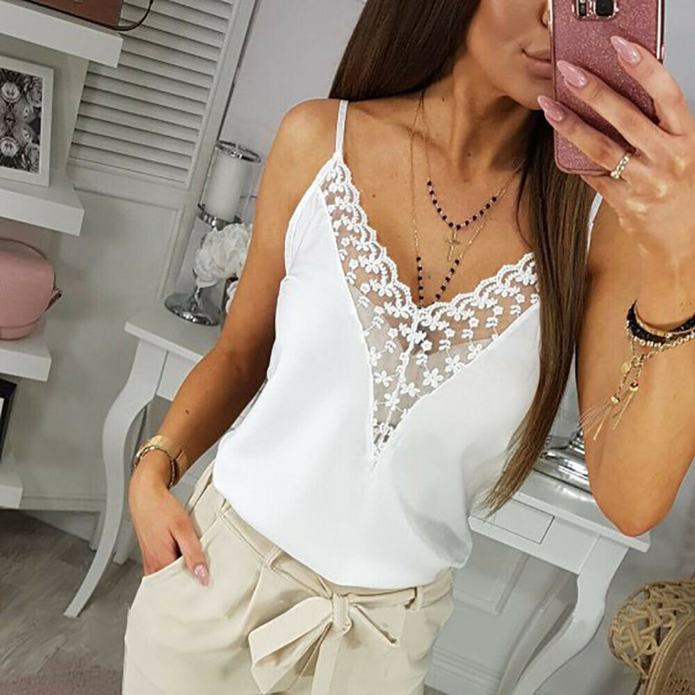 Women Lace Solid Casual Sexy V Neck Chiffon   Tank     Tops   Sleeveless Tunic Blouse Floral Vest Shirt Clothing S-XL Summer Clothes