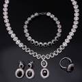 Black jewellery set stone cubic zircon necklace sets 4pcs jewelry sets of necklace earrings bracelet and ring necklace set