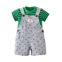 Newly 2018 Kids Baby Girl Summer Dress Design Belts Shorts Overalls Green Stripe Shirt Cotton Baby