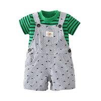 Newly 2018 Kids Baby Girl Summer Dress Design Belts Shorts Overalls Green Stripe Shirt Cotton Baby