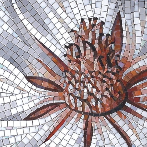 Custom Mosaic Tile Flower Hand Cut 11m X 2m Art Glass
