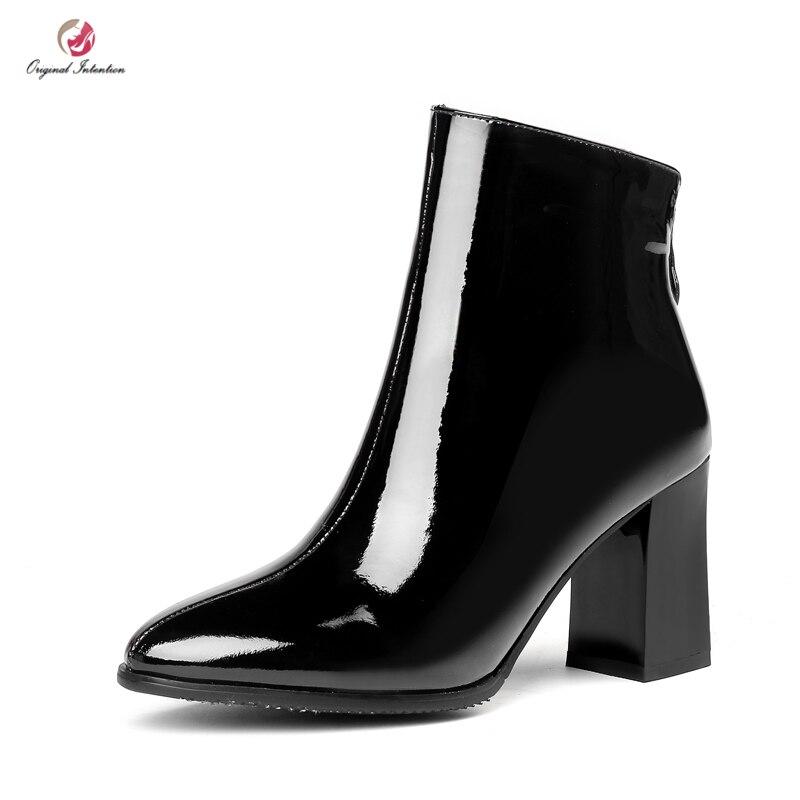 ea3801ce0d87 Talons White Noir Femmes Us Verni Cheville Bottes 13 Black L intention Chaussures  Cuir En Blanc ...