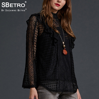 SBetro Dressy Party Tee Tops Female Mixed Lace Ruffle High Mock Neck Long Sleeve Sexy Women Tunic Top Blouses