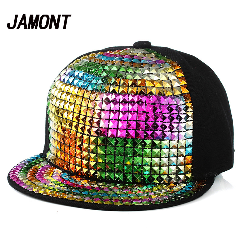 Bling Sequins Baseball Cap Hip Hop Caps Street Flat Sunscreen Sun Hat For Women Men New Design Adjustable Snapback Caps nyuk trendy metal v for vendetta mask baseball cap leather belt buckle adjustable flat birm cool street boy men snapback hat set