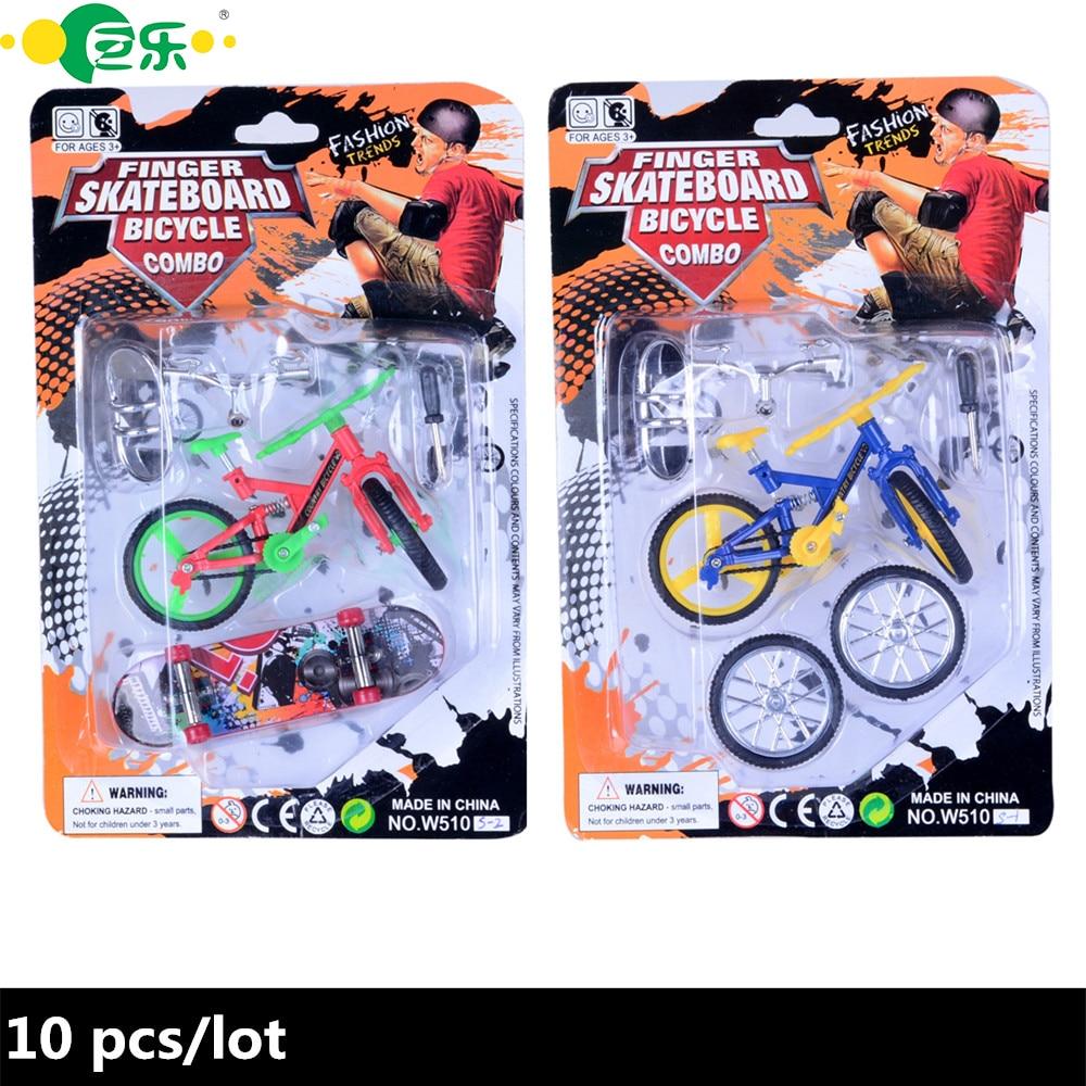 10pcs / lot na debelo Finger Skateboards Finger Bike Igrače za otroke Finger Kolesa Set igrač z maloprodajno embalažo za novosti otrok