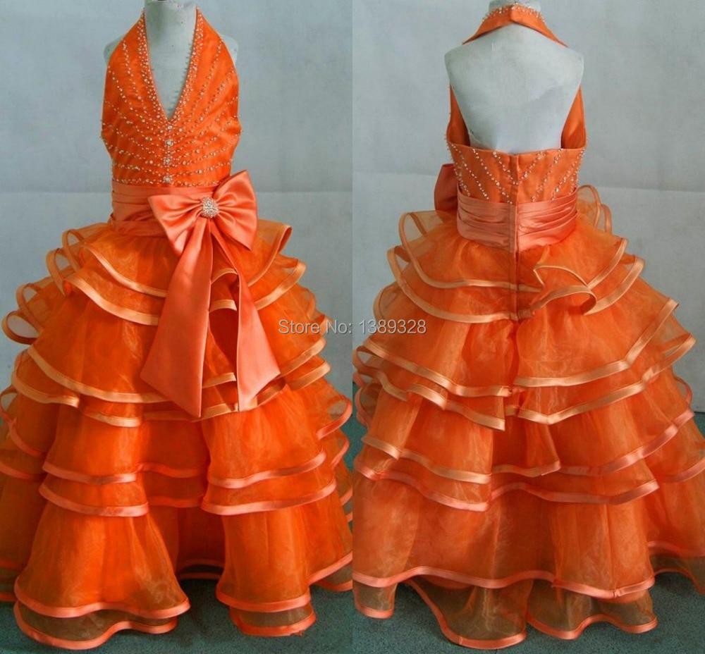 New 2018 Orange Flower Girls\' Dresses Halter Ball Gown Layered ...
