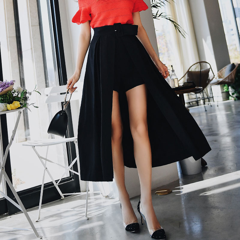 Dabuwawa Irregular Long Skirts Girls Office Lady Women High Waist Streetwear A-Line Culottes Skirts With Belt Female DN1BSK013