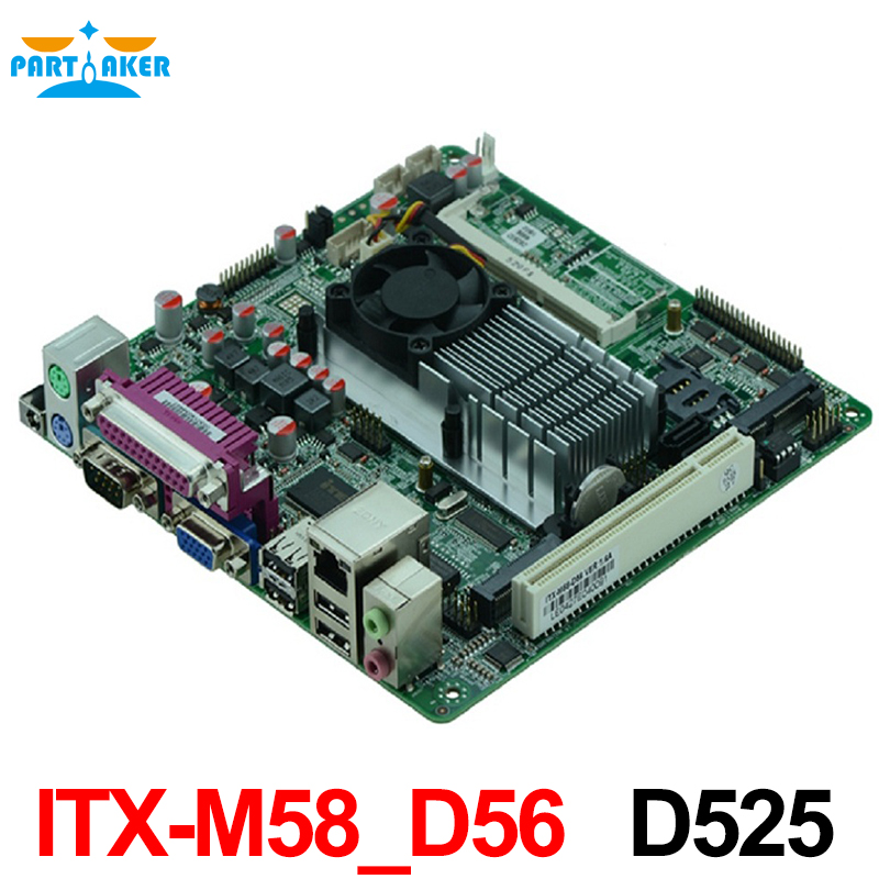 Cheap price Intel D525/1.80GHz dual core CPU Desktop Industrial MINI-ITX Motherboard with 1 gigabit ethernet/nic OEM cheap price industrial embedded mini itx motherboard itx m58 d56l support d525 1 80ghz dual core cpu with 8 usb 6 com
