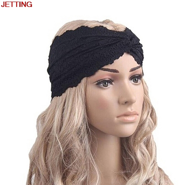 JETTING-Muslim Turban Headband Black Lace Turban Cross Headwrap Lace  Hairband Hair Accessories cb0d19c8ac5