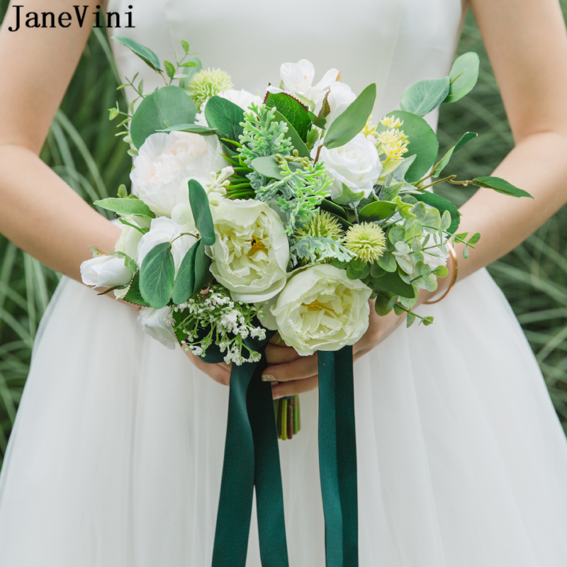 JaneVini New Western White Wedding Bouquets With Ribbon Handle Artificial Roses Bridal Bouquets Silk Wedding Brooch Accessories