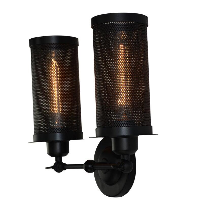 BLUEKING двойных головок металлическая сетка старинные настенные лампы внутреннего освещения прикроватные лампы настенные светильники