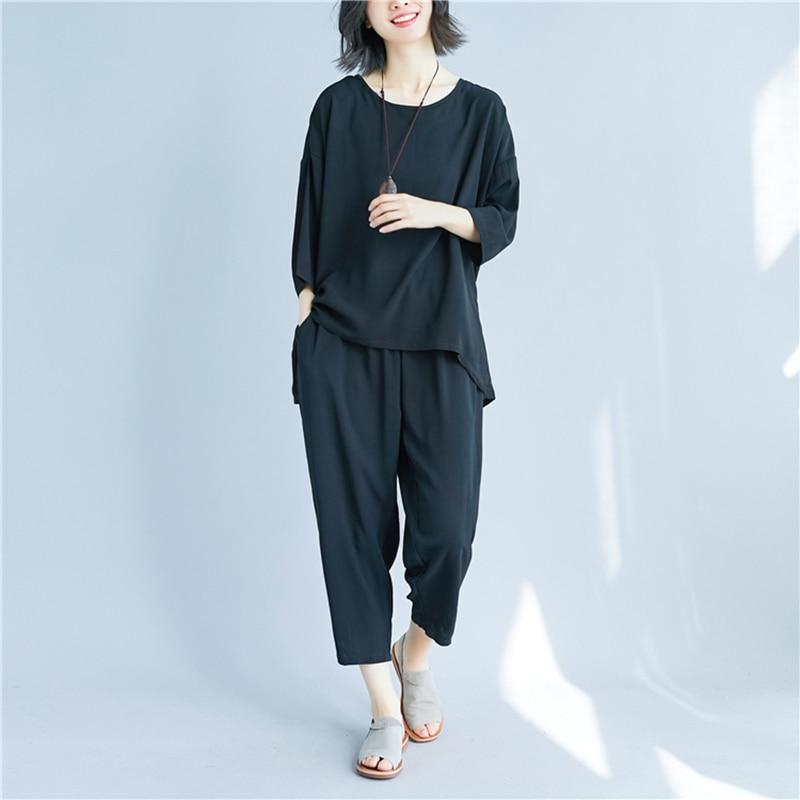 2 قطع ملابس النساء الصيف مجموعة قمم و - ملابس نسائية