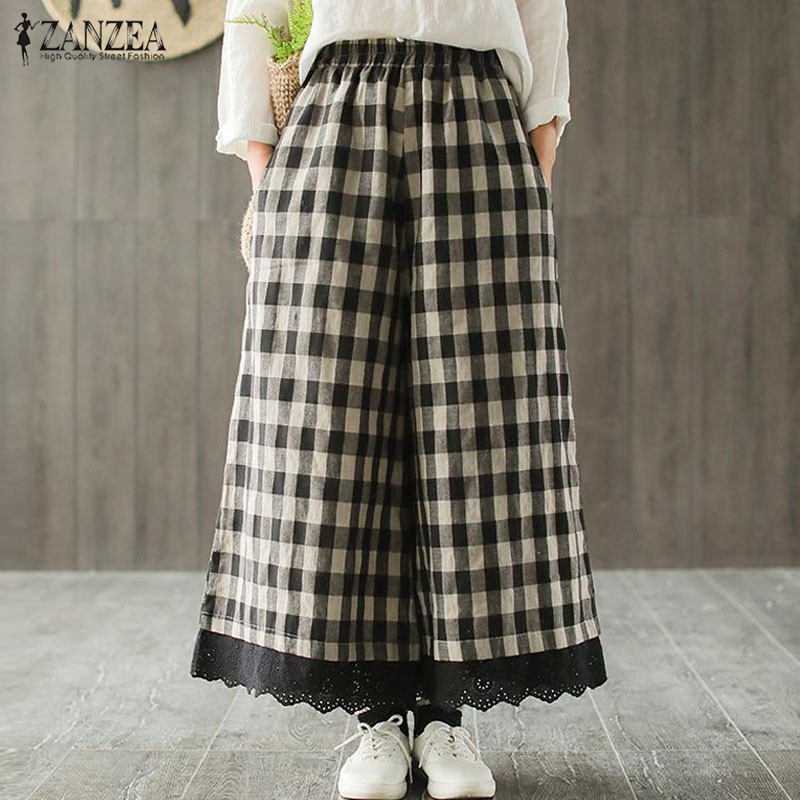 2019 Plus Size ZANZEA Casual   Wide     Leg     Pants   Women Elastic Waist Check Plaid Lace Patchwork Loose Long Pantalon Trousers Female