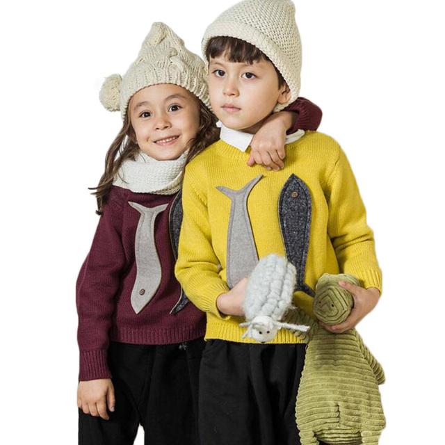 Meninos Das Meninas do bebê Além de veludo Camisola Criança Das Crianças Das Crianças de Lã Quente Blusas de Malha Pullover Outono Inverno Top Roupas de Algodão