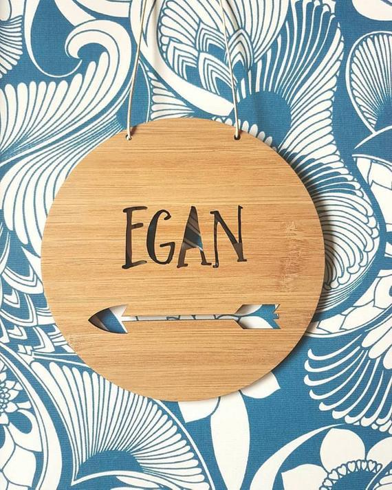 Personnalisé Nom Cerceau Or 3 mm MDF bois cercle Home Nursery Wall Sign Plaque