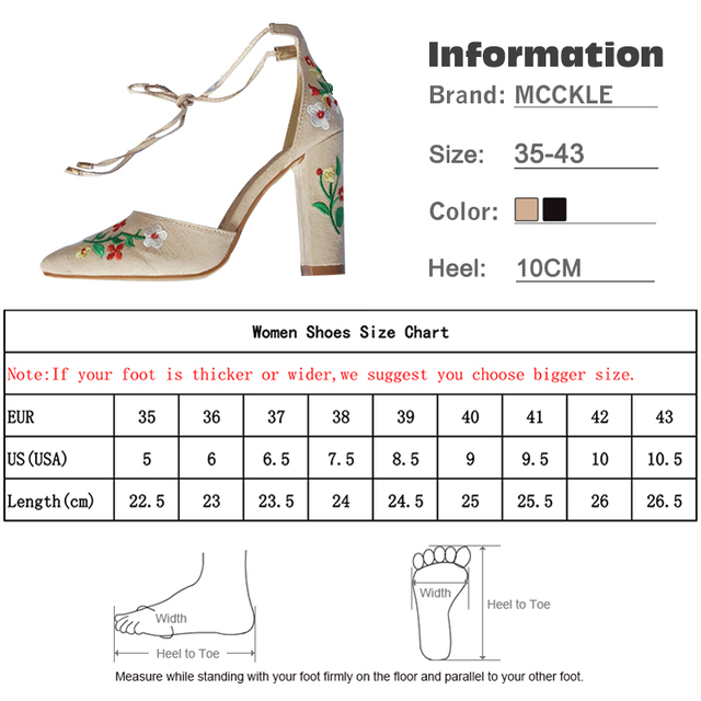 MCCKLE Women High Heels Plus Size Embroidery Pumps Flower Ankle Strap Shoes Female Two Piece Sexy Party Wedding Pointed Toe 5
