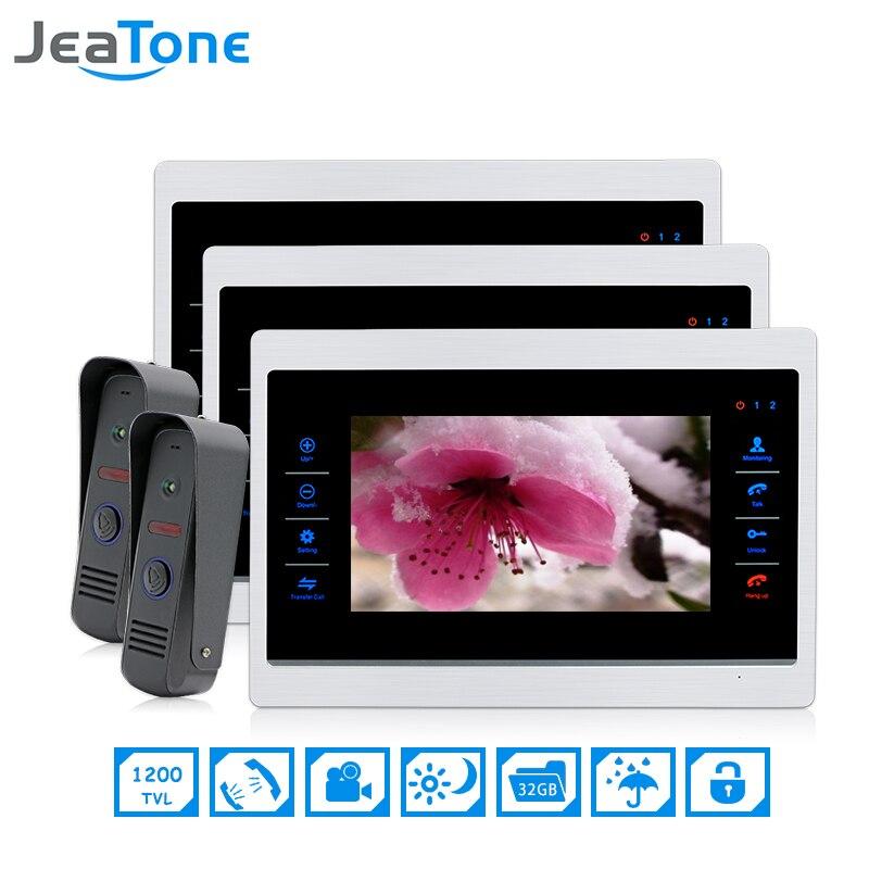 7 inch 2 to 3 Video Door Phone Intercom Door Bell On door Speaker Hands-free Touch Button intercom Waterproof Doorbell JeaTone